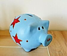 Pottery Money Pot Pig Hand Painted Blue with red stars
