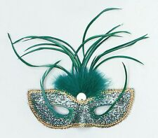Green Masquerade Tall Feather Eye Mask Adult Fancy Dress NEW P1627