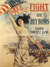 Fight Buy Bonds World War I US Military Vintage Poster
