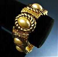 Fabulous Vntg CHRISTIAN DIOR Heavy 91g Faux Pearl Rhinestone Gold Link Bracelet