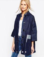 NEW Waven Britta Oversized A-Line Short Sleeve Denim Patch Pockets Jacket Coat