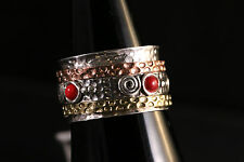 925 Sterling silver 3 Tone band W/Coral Stone Ring unisex Size 9