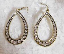 "Earrings - Hooks - Approx 2"" Rhinestone Encrusted Teardrop Goldtone Hoop Pierced"