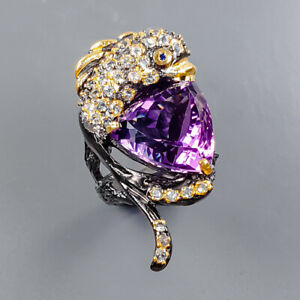 15ct+ One of a kind Amethyst Ring Silver 925 Sterling  Size 8.75 /R178255