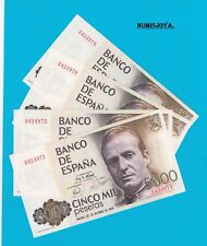 1 billete de 5000 Pesetas 1979. Sin Serie nº 3424971-72-78-79. PLANCHA RIGUROSA.