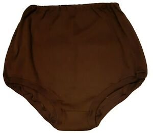Gymphlex school knickers, brown, elasticated waist and legs, Size Large.