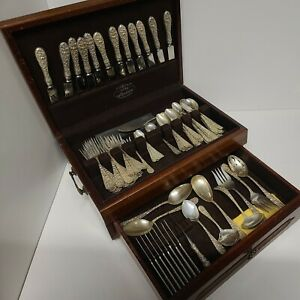 Stieff Rose Repousse Sterling Silver Flatware 93 piece set service for eight