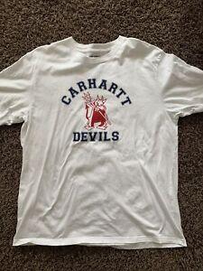 Carhartt T-Shirt Xl Devils Weiß Mit Druck Vorne Teufelchen Blau Rot