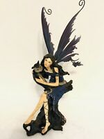 Vintage David Ent Mythical Fairy Wire Wings with Black & Gray Kitty Cat Figurine