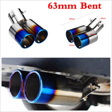 Car 63mm Bent Twin Exhaust Tail Throat Tip Pipe Trim Dual Muffler Roasted Blue