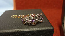 Clogau Silver & Rose Gold Ruthénium Plated & Amethyst Origin Ring Size O RRP £ 129