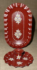 HAND PAINTED TOLE~Lovely SM SINGLE LIGHT PAINTED TIN CANDLE SCONCE & REFLECTOR