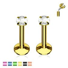 2pc Gem Stud TITANIUM Monroe LABRET EAR LIP Ring Cartilage Helix Tragus Piercing