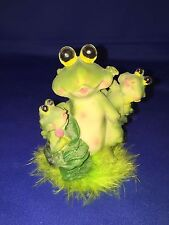 Frog family in the grass  resin