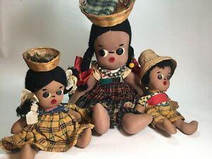 VINTAGE 1960'S HERITAGE GUATEMALA FAMILY OF DOLLS.