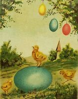 Easter Greetings Baby Chicks Colored Eggs In Field Hanging From Tree ca1912