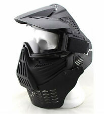 Outdoor Airsoft Painball Army Full Face Gas Mask Goggles & Neck Protect Black