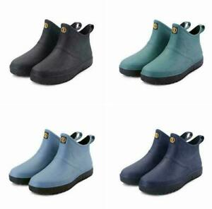 Men Rain Shoes Garden Fishing Wellington Wellies Waterproof Short Boots Size UK