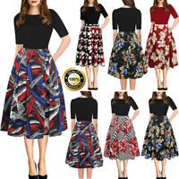 Fashion Summer Womens Casual Short Sleeve A-line Floral Vintage Party Maxi Dress