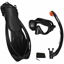 Black, MLXL, scs0003, PROMATE Snorkeling Mask Fins DRY Snorkel Set Gear Bag