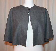 Womens AQUA Grey Wool Blend One Button Cape Capelet Shrug Jacket Size M