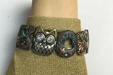 Costume Fashion Jewelry Bracelet stretchy Wisdom OWL bronze & green colored