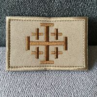 Jerusalem Cross Crusader Embroidered Tactical Morale Flag Patch Hook & Loop