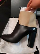 Chanel 42 NIB New Black Beige Short ankle Boots With Gold Tone CC 11 12 $1325