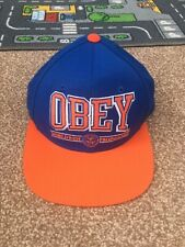 Obey Snapback Baseball Hat Blue/Orange One Size Brand New With Tags RRP £32
