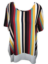 Cha Cha Vente Women's 1X Retro Look Striped Short Sleeve Top Blouse