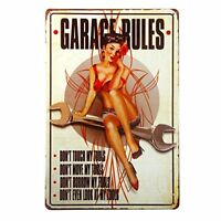 "Garage Rules Pin Up Girl Metal Tin Sign 8"" x 12"""
