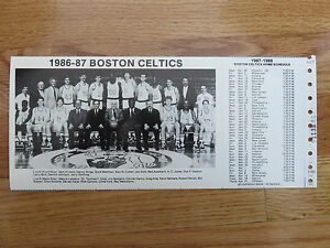 1986-87 BOSTON CELTICS Team Photo Schedule LARRY BIRD RED AUERBACH KEVIN McHALE