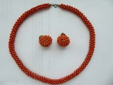 Antique Victorian woven sterling silver salmon red coral beads necklace ear set