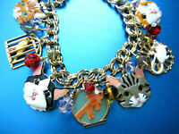 LUNCH AT THE RITZ LATR2GO 'A CAT'S LIFE' GOLD PLATED CHARMS BEADS BRACELET LG0