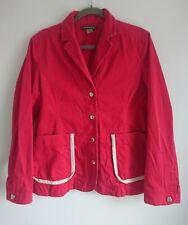 ORLA KIELY RED DENIM STYLE léger coton veste taille 3 UK 12   été Blazer Manteau