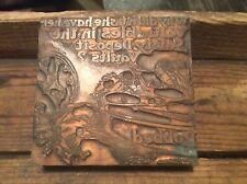 Vintage Copper Newspaper Ink Plate Type On Wood Block , Safety Vault Robbed