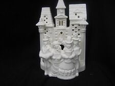Party Lite white bisque cathedral church with tea light candle holder