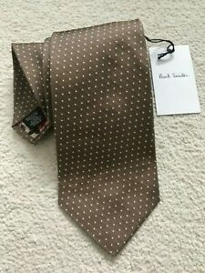 PAUL SMITH Silk TIE Brown small white dots Polka Lining 8cm Blade