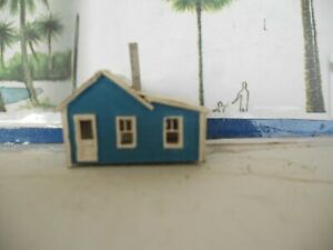 N scale House cabin cottage assembled & painted blue laser cut balsa wood used