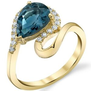 Oravo 14K Yellow Gold 2 ct London Blue Topaz Pear-Shaped Ring Size 5-9