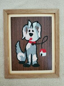 """VINTAGE / SAND ART KIDS CRAFTS - """"DOG"""" PICTURE -   (FRAMED)   1970"""