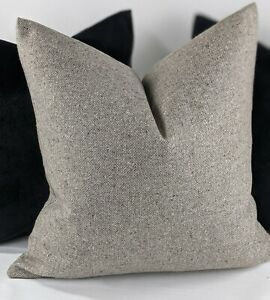 John lewis Speckled Wool Fabric Cushion Cover Grey Beige Reversible