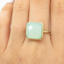 925 Sterling Silver Gold Plated Real Chalcedony Gemstone Ring Size 7