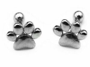 STEEL BARBELL CAT DOG PAW Plug Earring Ear Labret Brow Belly Tongue 6 x 1.2mm