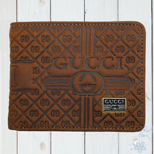 NEW GUCCI MEN'S BROWN EMBOSSED LEATHER MULTI CARD ID HOLDER BIFOLD WALLET