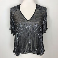 PARKER Women's SMALL Dressy Lucas Sequined & Beaded SILK TOP Blouse Embellished
