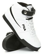 NEW MEN'S FILA VULC 13 MID PLUS BLACK WHITE CLASSIC HIGH TOP LACE UP SNEAKERS