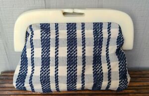 Anthropologie Pilcro And The Letterpress Clutch Purse Snap Close Blue Checked