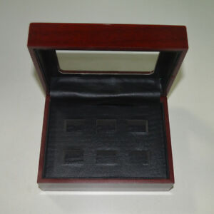6 Hole Wooden Glass Display Box for  Cup Championship Ring