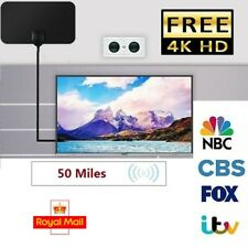 Thin Freeview Indoor Digital TV Aerial HDTV Antenna 50 Mile Range Portable